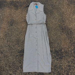 VINTAGE 80s Gingham Button Up Dress w/ Belt